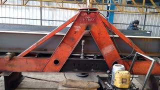 """Bending """"I"""" beams for Low Bed trailer's main chassis."""