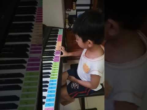 Leeroy learning do re mi fa so la ti do keys on digital piano.