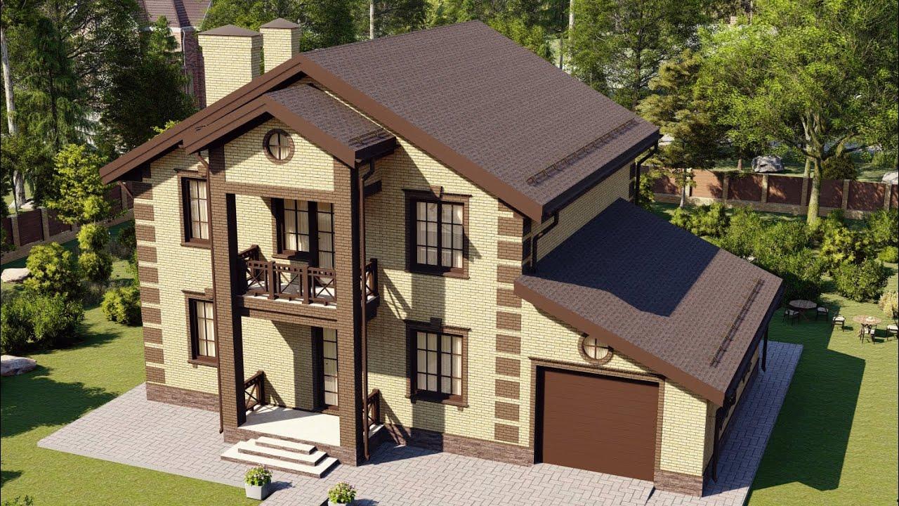 Дом с мансардой из газобетона с гаражом на 1 авто 194 м2