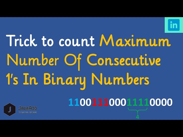 Consecutive 1's in Binary Numbers Discussions | Tutorials | HackerRank