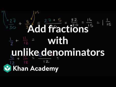 Adding fractions with unlike denominators video khan academy ccuart Images