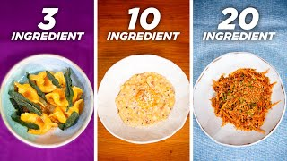 3-Ingredient vs. 10-Ingredient vs. 20-Ingredient Pasta • Tasty