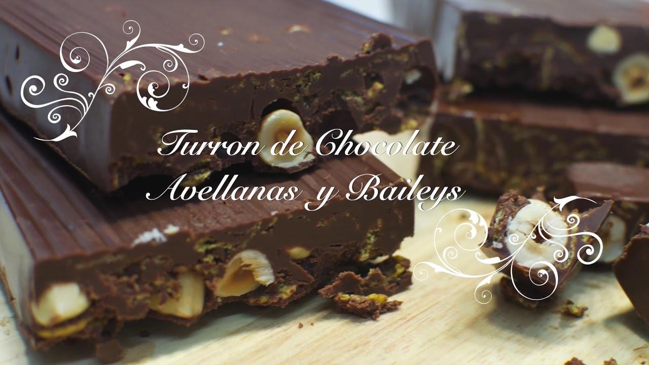 Turron de Chocolate y Avellanas con Baileys | Turron de Chocolate Casero | Como hacer Turron