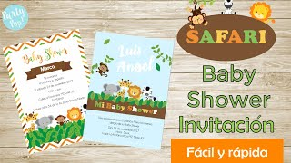Invitaciones Para Baby Shower -En Digital-  2 Ideas  Safari  | Party Pop!🎉|