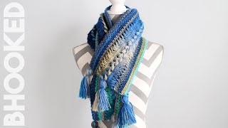 Waves Hairpin Lace Crochet Scarf Step-by-Step Tutorial