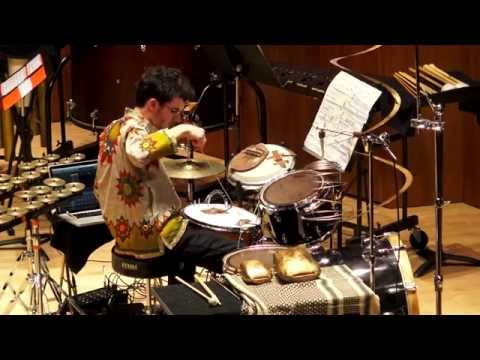 Performing a drum set solo with electronics written about traditional folk stories from Indonesia.