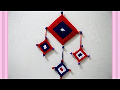 Download Wall Hanging With Popsicle Sticks And Yarn Decorative