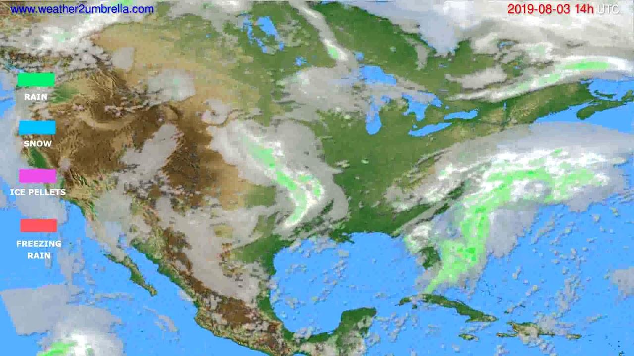 Precipitation forecast USA & Canada // modelrun: 00h UTC 2019-08-01