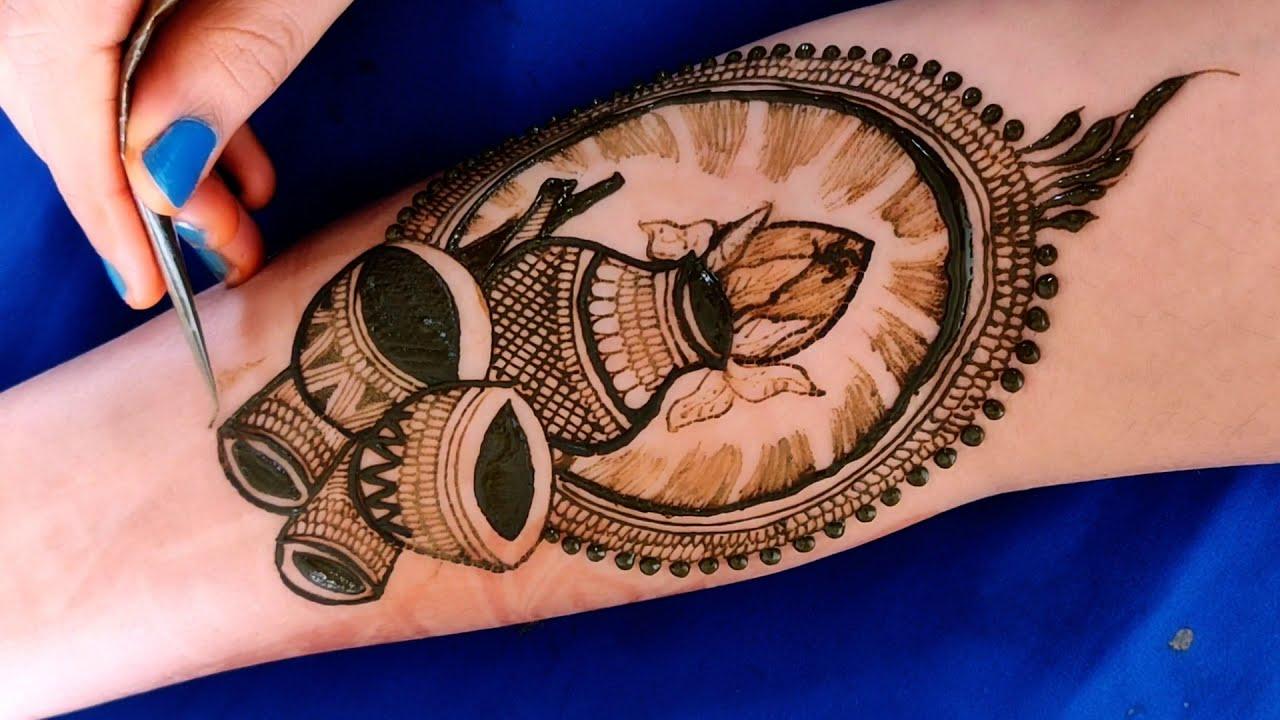 bridal full hand mehndi design peacock lotus dhol indian weeding by aaru