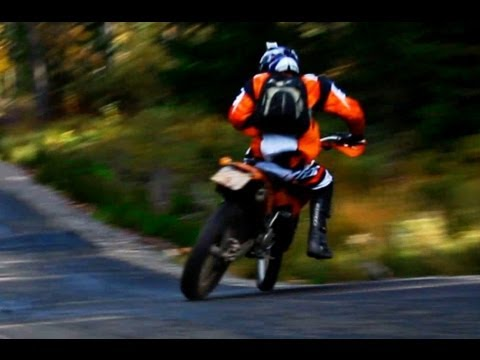 KTM EXC 300 on slippery road
