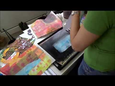 Monotypie auf Gelatineplatte   auf Zeitungspapier