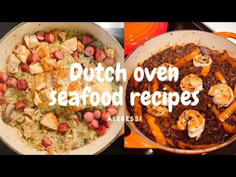 , title : 'BEST Dutch Oven Recipes #1| Salmon cabbage butter rice| Seafood & Tomato Mushroom Forbidden Risotto