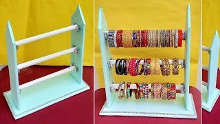 Diy - How To Make Bangles Stand At Home   Best Out Of Waste   Bangle Storage Organization Idea