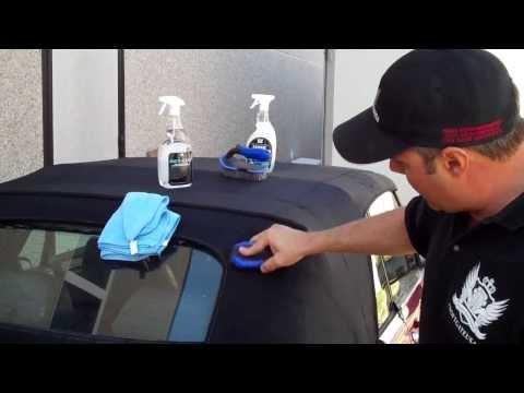 Pulitura e trattamento cappotta auto