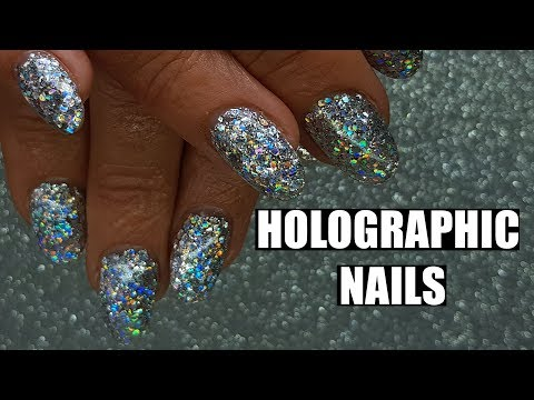 ACRYLIC NAILS CHUNKY HOLOGRAPHIC SILVER GLITTER | HOLOSEXUAL