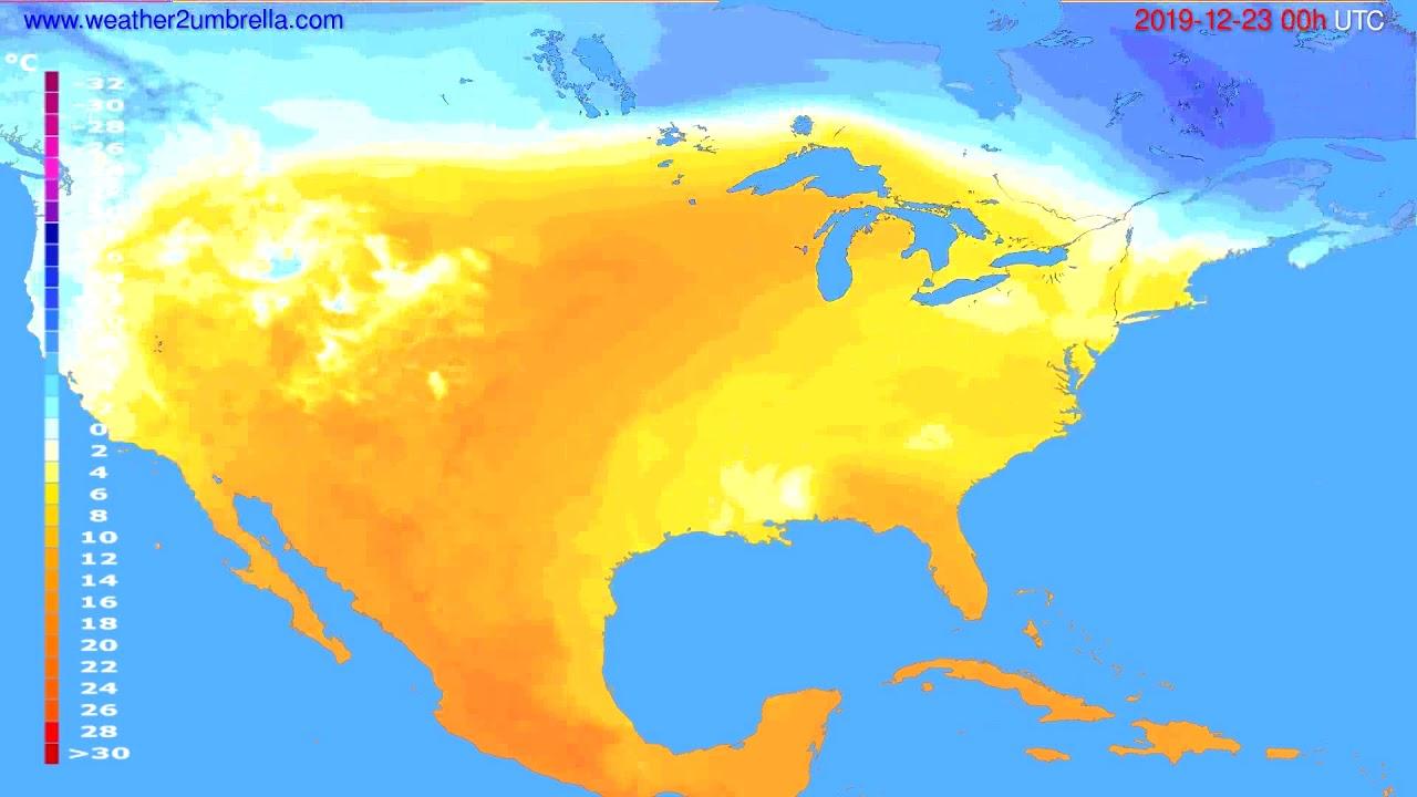 Temperature forecast USA & Canada // modelrun: 00h UTC 2019-12-22