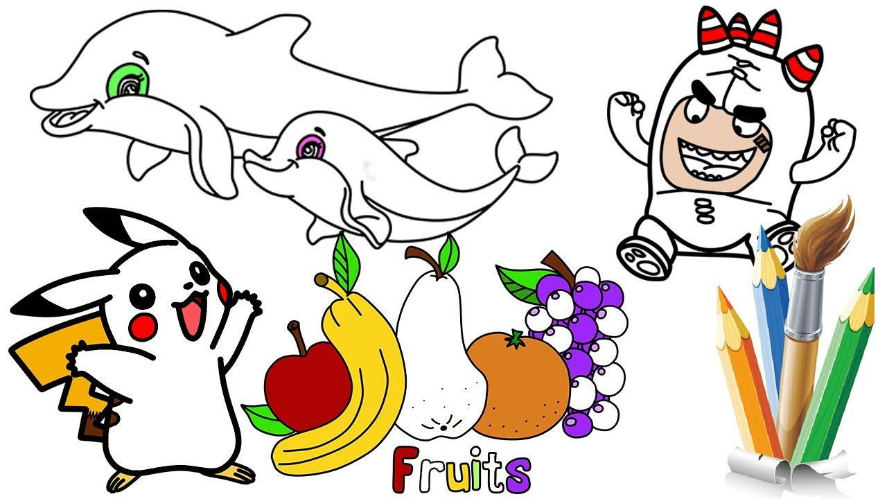 How to Draw Oddbods Fruits Pikachu Dolphin Coloring Pages Video for Kids Drawing Learn Colors