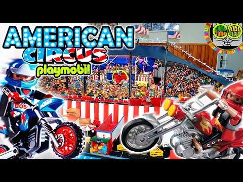 Espectaculo del Gran CIRCO AMERICANO. Coleccion de circos de juguetes Playmobil.
