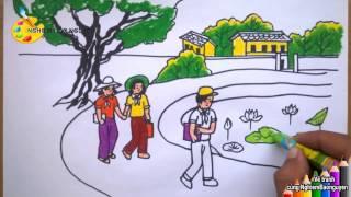 Vẽ tranh Trường làng em
