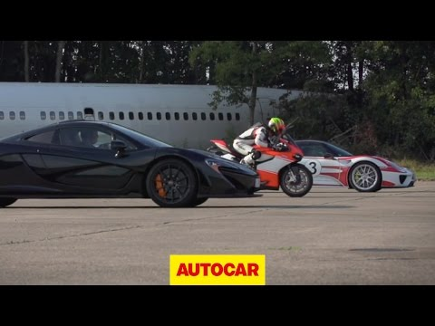 McLaren P1 vs. Porsche 918 Spyder vs. Ducati 1199 Superleggera – drag race