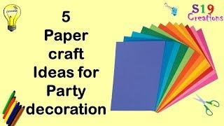 5 Paper Decor Crafts | Easy Diy Paper Craft Ideas For Party | Budget Decor Ideas | Wall Decor Idea