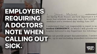 Employers requiring a doctor note to return to work when calling out sick