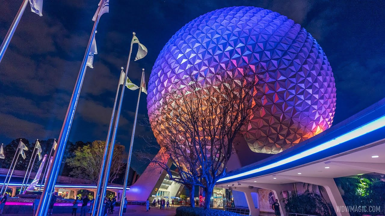 New EPCOT main entrance perimeter outline lighting