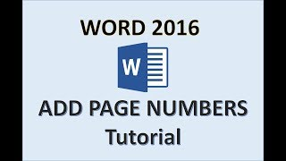 Word 2016 - Page Numbers - How to Add Number in Header on Microsoft and Put Pages on 2017 2018 & 365