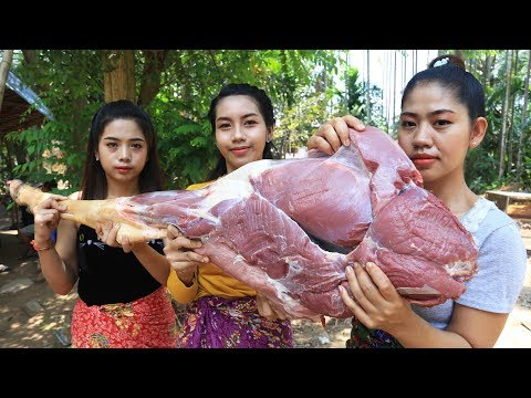 Yummy cooking BBQ leg cow recipe – Cooking skill
