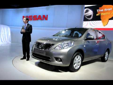 Nissan Sunny sedan displayed at the Nissan pavilion