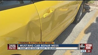 Woman blames paint and body shop for mustang car repair mess