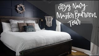 Moody Navy Bedroom- Room Tour! Dark Walls & Neutrals A Cozy Space