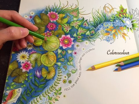 Secret Garden The Magical Water Lily Pond Coloring With Colored Pencils