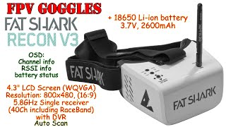 "FatShark Recon V3 4.3"" FPV Goggles, WQVGA, 800x480, 40Ch, 5.8GHz, DVR, OSD, Auto Scan, 18650 battery"