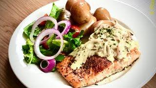 How to make Grilled salmon with Mustard and Thyme Sauce