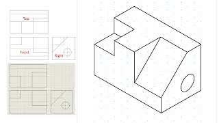 Isometric view drawing example 1 (easy). Links to practice files in description