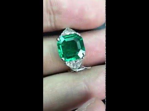 Square Emerald Cut Colombian Emerald and Diamond Ring