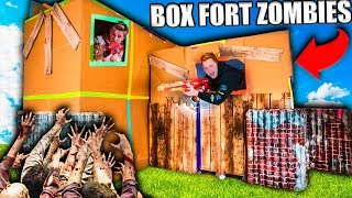TWO STORY BOX FORT ZOMBIES BASE 📦😱 24 HOUR Zombies Survival Challenge