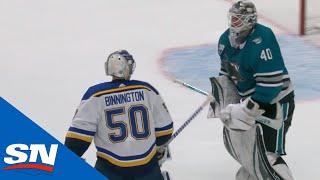 Jordan Binnington Goes After Multiple Sharks' Players Including Dubnyk After Being Pulled From Game by Sportsnet Canada