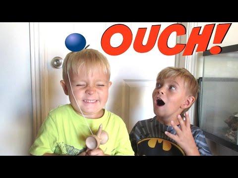 ⚾HARD BALL SMACKS KID IN THE HEAD😵! KID HITS HEAD   KENDAMA FAIL   DYCHES FAM