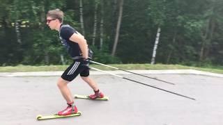 Тренировка техники коньковых лыжных ходов.