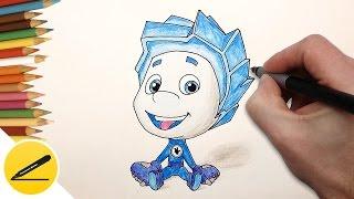 Как нарисовать Файера из Фиксиков карандашом поэтапно