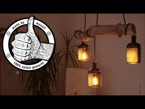 Esstischlampe Lampe selber bauen, machen Anleitung, DIY Flaschenlampe Treibholz LED (ENG SUB)