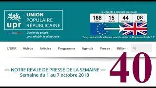 Revue de Presse UPR semaine n°40