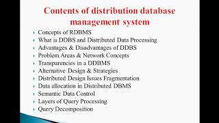 distributed database outline