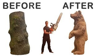 CHAINSAW CARVING A GIANT BEAR