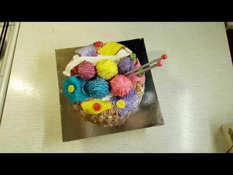 Мастер-класс создания торта в виде корзины с клубками
