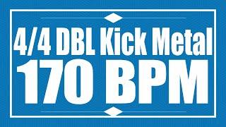 170 BPM - Double Kick METAL - 4/4 Drum Track - Metronome