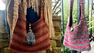 Crossbody Boho Bag - Crochet Tutorial RIGHT HANDED