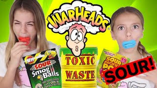 EXTREME SOUR CANDY CHALLENGE!!! Warheads & Toxic Waste  | Quinn Sisters